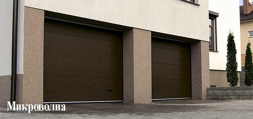 Гаражные секционноые ворота фактура Микроволна, Коричневый цвет Сан-Строй-Уфа