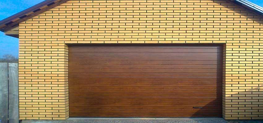 Гаражные секционноые ворота фактура S-гофр, Темный Дуб цвет Сан-Строй-Уфа