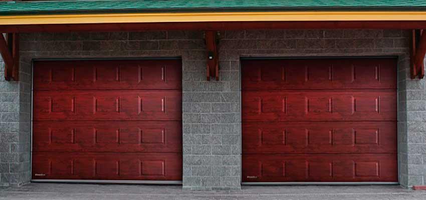 Гаражные секционноые ворота фактура Микроволна, Вишня Цвет цвет Сан-Строй-Уфа